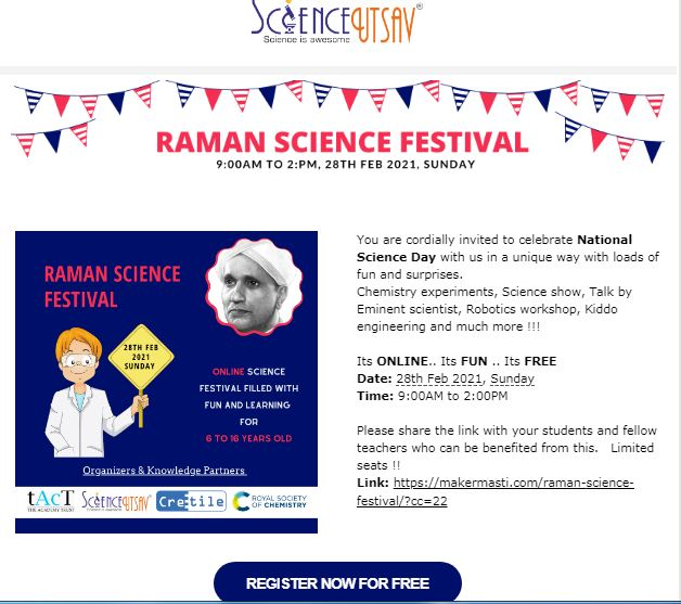Raman Science Festival – Online festival for 6 to 16 years old and Teachers