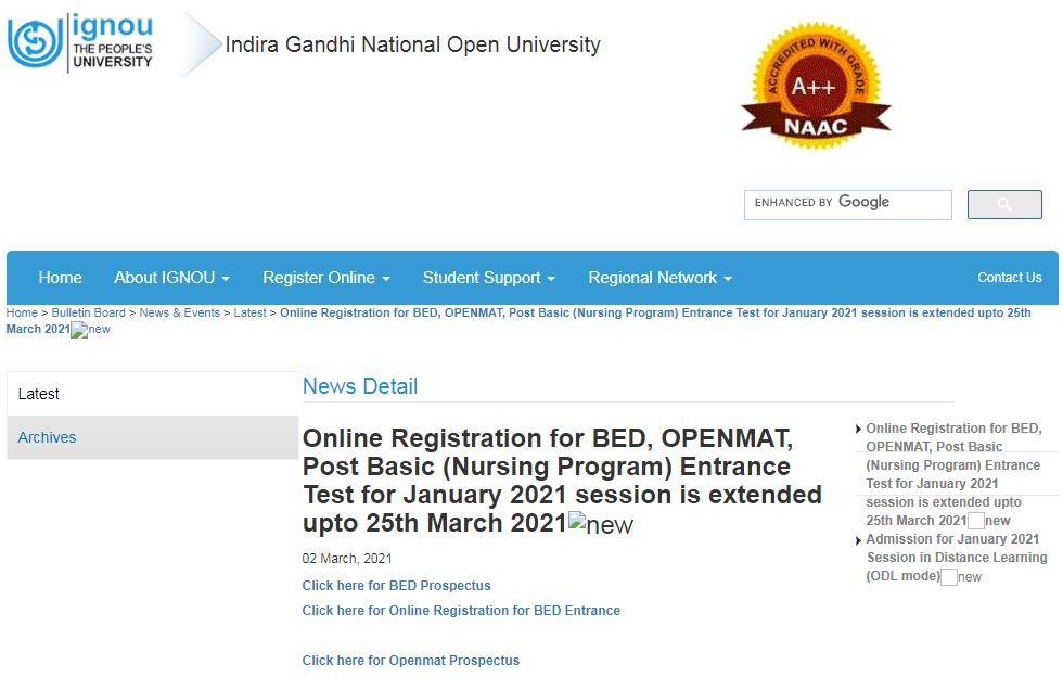 IGNOU Opens Correction Window For BEd, OPENMAT Application Forms